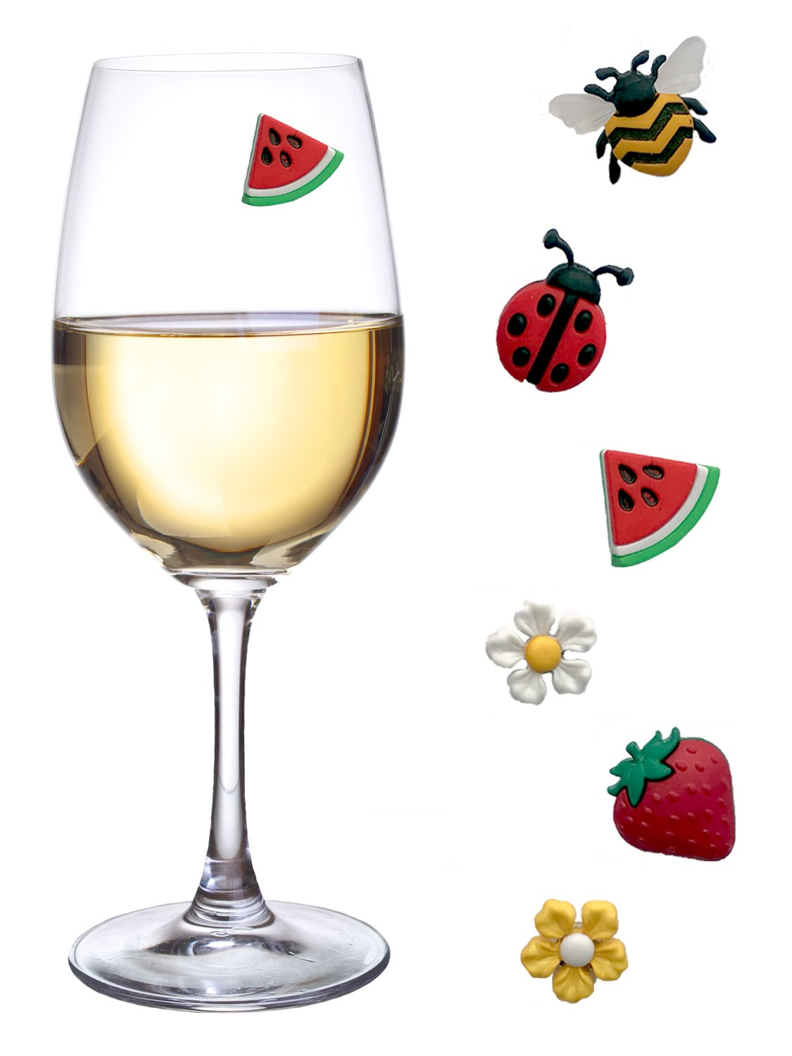 Magnetic Wine Glass Charms with Bee, Strawberry and Flowers Set of 6 Fun Drink Markers or Cocktail Identifiers by Simply Charmed