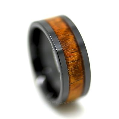 Amazon.com: Cerámica anillo de banda de boda para hombre ...