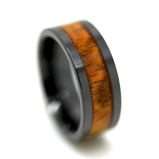 Ceramic Mens Wedding Band Hawaiian Koa Wood Inlay Engagement Ring Promise For Men Black