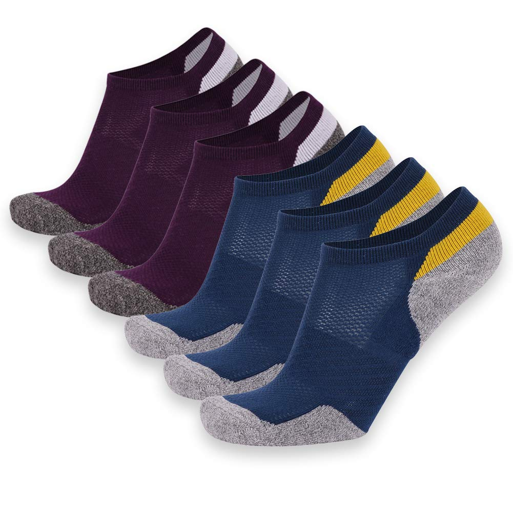 Moisture Wicking Unisex Hiking Sock 1,6 Pairs Mens Womens Fitness Exercise Quick Dry Socks for Hiking Climbing Blue 6 Pairs Time and River Running Ankle Sock