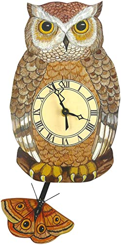 Modern Artisans Night Owl Pendulum Wall Clock
