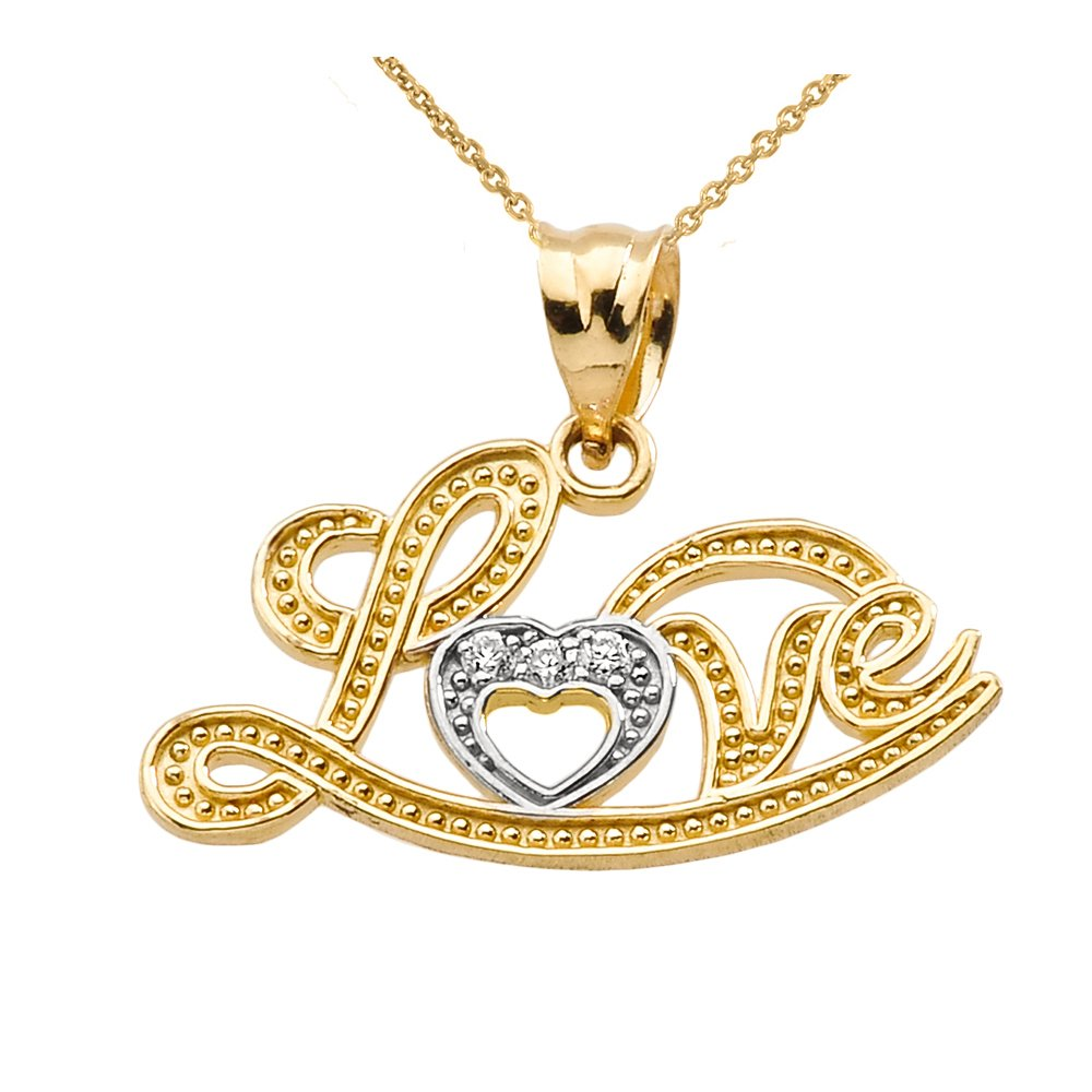 Exquisite 10k Yellow Gold ''Love'' Script Diamond Pendant Necklace, 16''