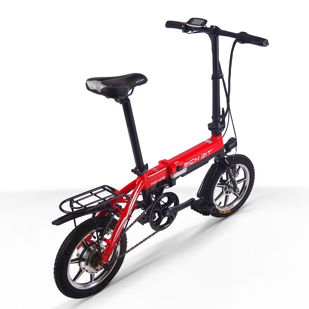 RICH BIT 618 電動アシスト自転車 14インチ 折りたたみ 36V*10.2Ah 法律に合う 公道で走るミニ自転車 アルミ合金フレーム 泥除け付け 4色 (レッド(LCD付き)) B07998F76X