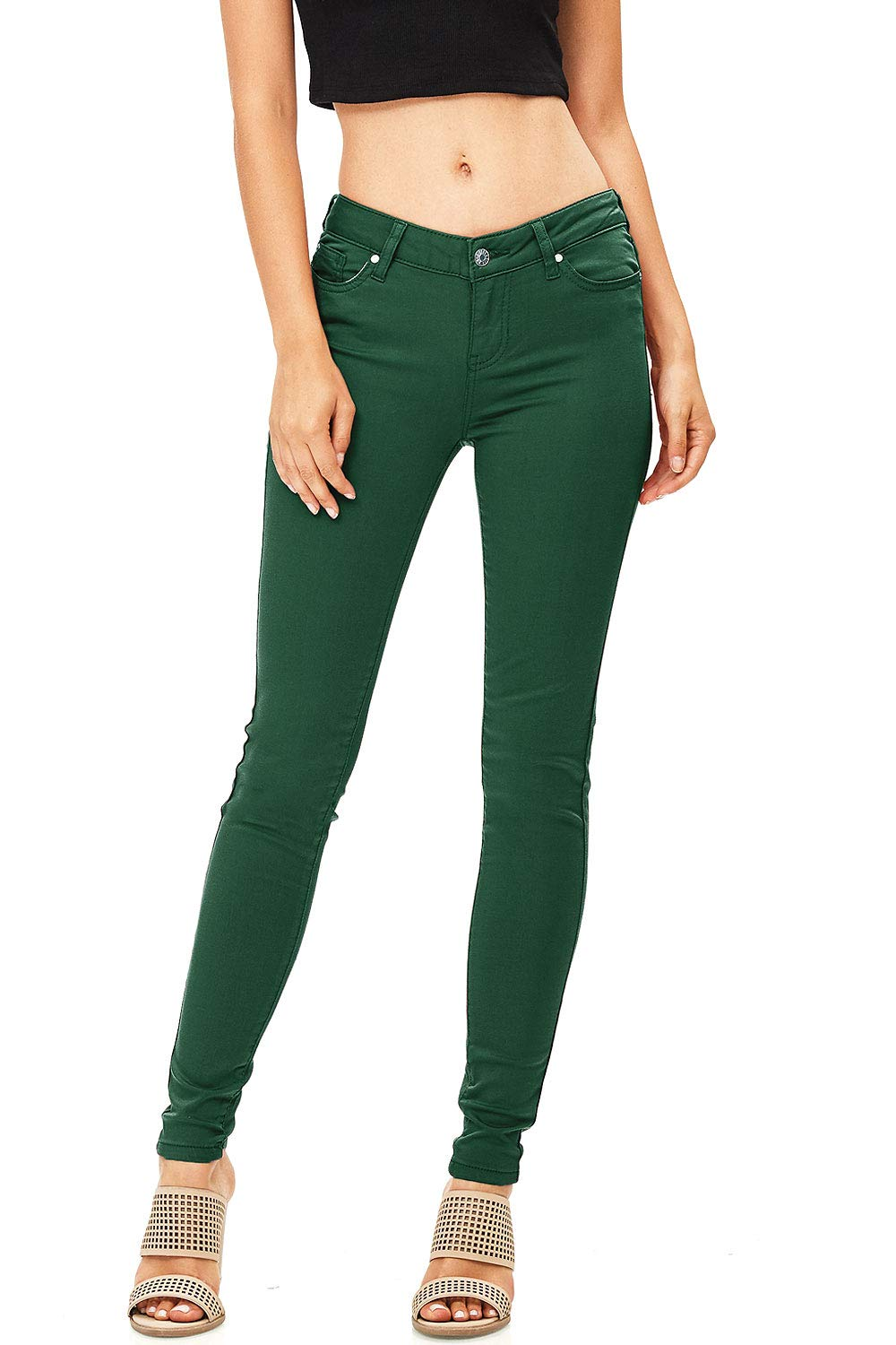 Celebrity Pink Women's Juniors Mid-Rise Jeggings Fit Skinny Pants (13, Forest)
