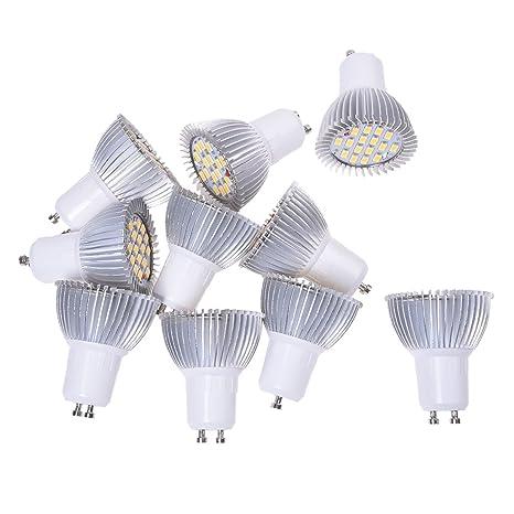 10x 5W GU10 Bombilla Lámpara 16 LED 5630 SMD Foco Luz Blanco Cálido AC 220V-