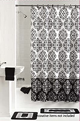 Amazon 15 Piece Bath Set 2 Black White Bathroom Rugs 1 Shower Curtain And 12 Matching Rings Ashur Home Kitchen