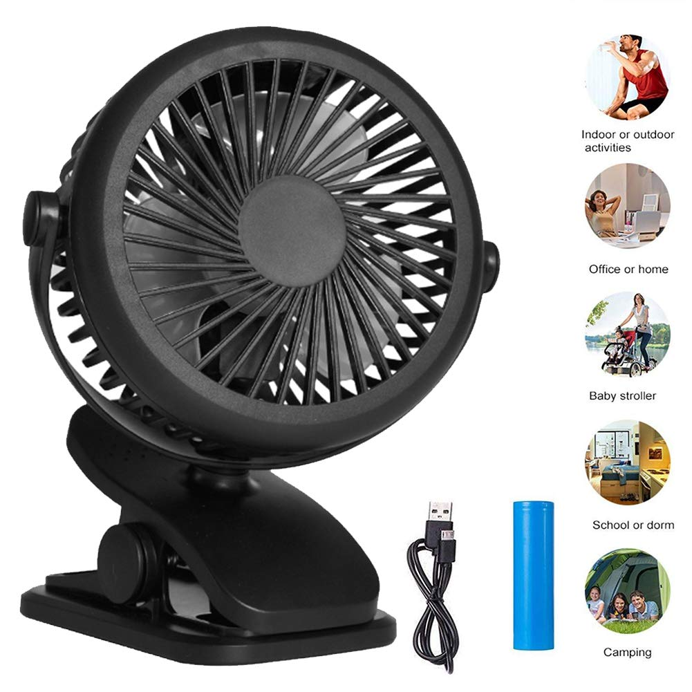 Black KATEGY Rechargeable Battery Operated Portable Clip on Desk Desk Fan with 3 Speed Quiet for Baby Stroller Office Car Gym Travel Hiking Camping Outdoor Baby Stroller Fan