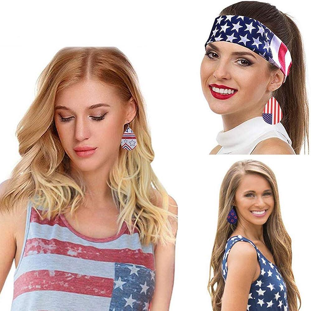 American Flag Earrings Independence Day Leather Teardrop Leaf Drop Petal Dangle Earrings 4th of July Lightweight Jewelry Set for Women Girl
