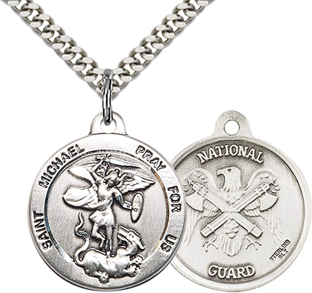 Jewels Obsession St Michael the Archangel Pendant Sterling Silver St Made In USA Michael the Archangel Pendant 24 Chain