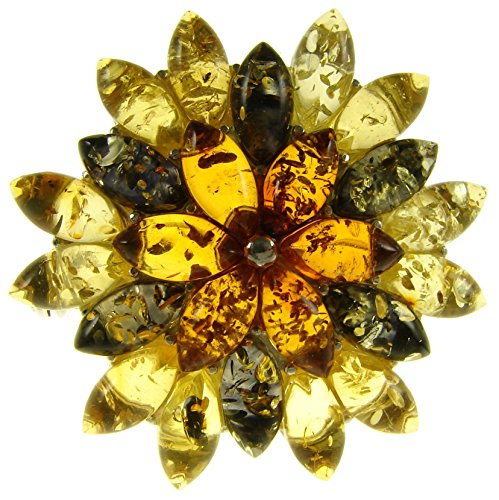 Baltic Amber And Sterling Silver 925 Designer Multi-Coloured Flower Leaf Brooch Pin