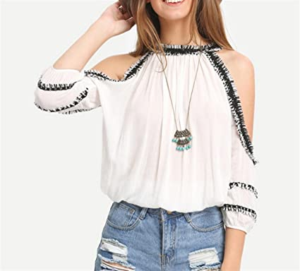 ZFFde Moda Nuevo Top de crochet de costilla de seda -1 pieza para la blusa de las mujeres (Color : White, tamaño : L): Amazon.es: Ropa y accesorios