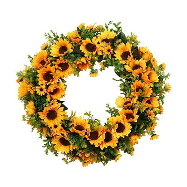 Pauwer 20″ Large Sunflower Wreath for Front Door Silk Artificial Yellow Sunflower with Green Leaves Door Wreath Indoor Outdoor (20″ Sunflower)