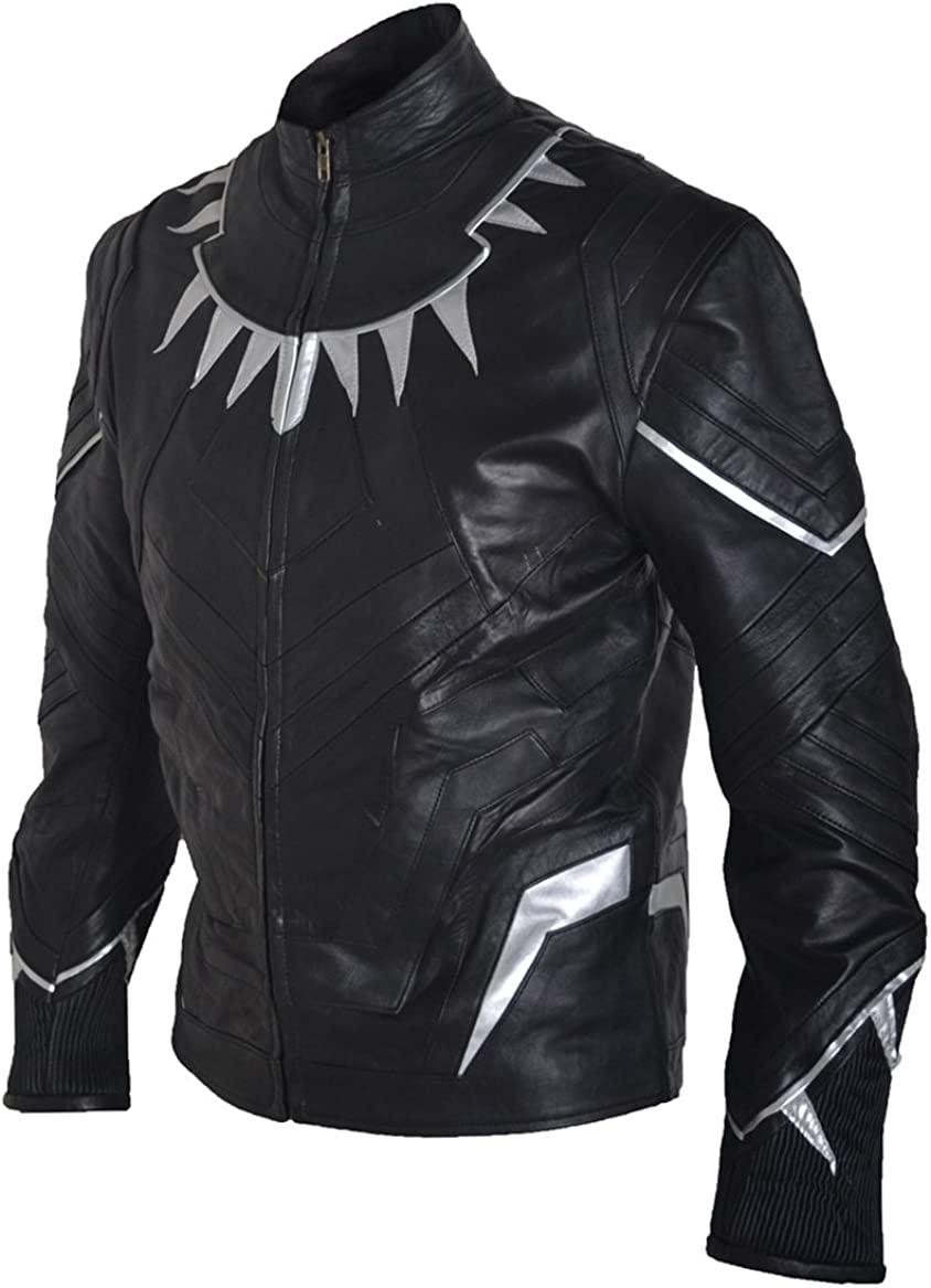 BillzDen Mens Fashion Captain Black Panther America Civil War Leather Jacket