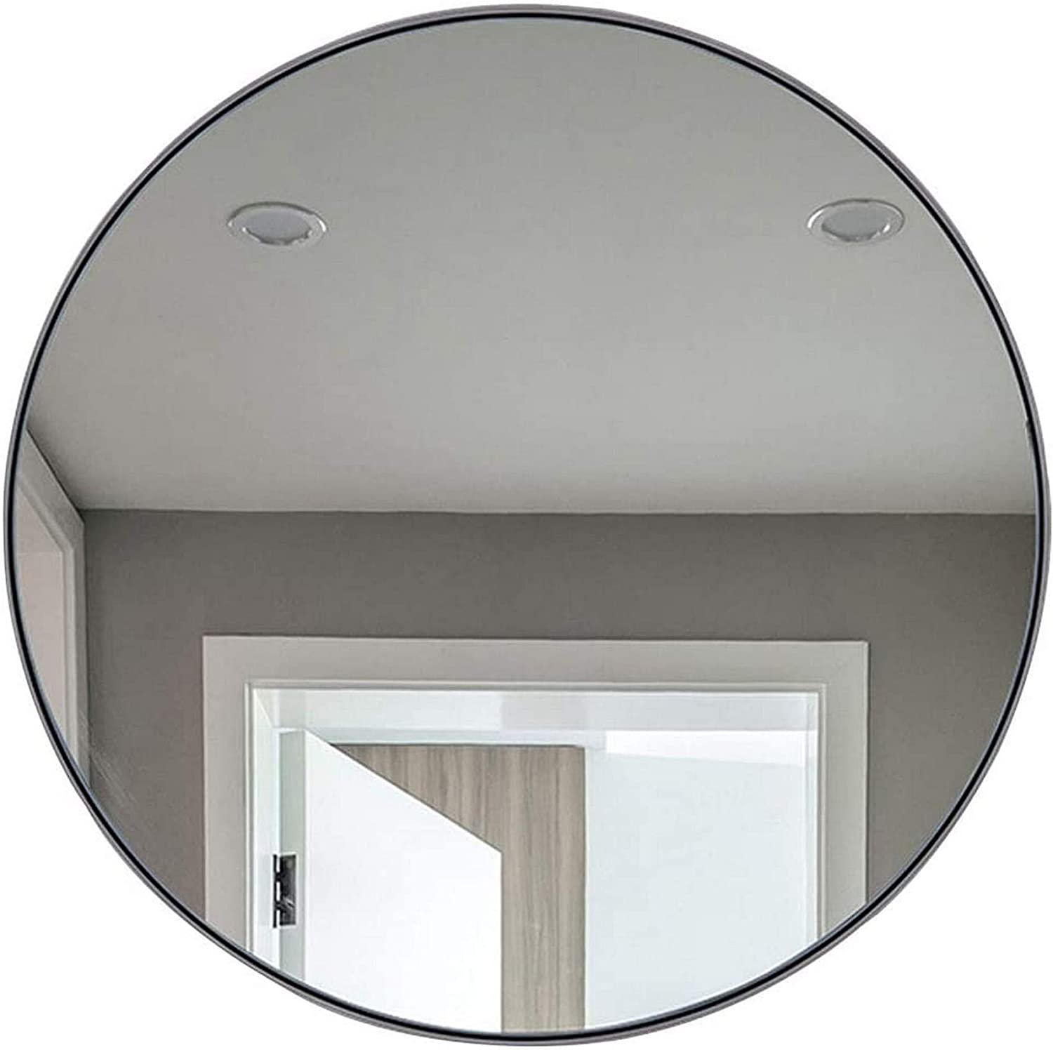 NSYNSY Mirror Stainless Steel Round Hub Wall Mirror Contemporary Brushed Metal Wall Mirror 19.7-31.5 Inch for Entryways, Washrooms, Living Rooms and More,Home Decoration Mirror