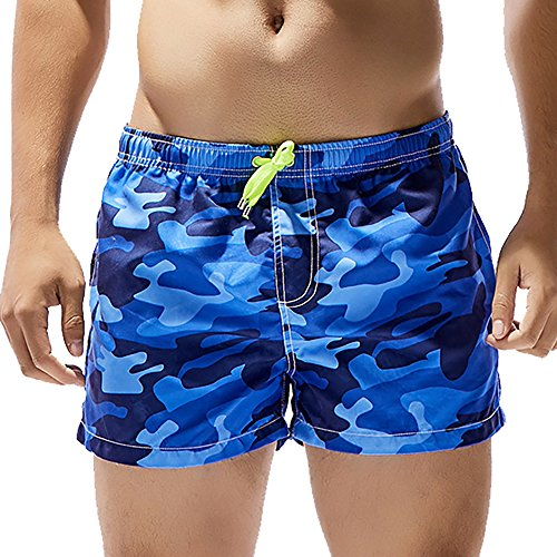 Feelingwear Men Camo Short Swim Trunks Quick Dry Watershort Casual Swimwear Bathing Suit Board Shorts With Mesh Lining Blue Size US M+/Tag - Mens Swimwear Styles