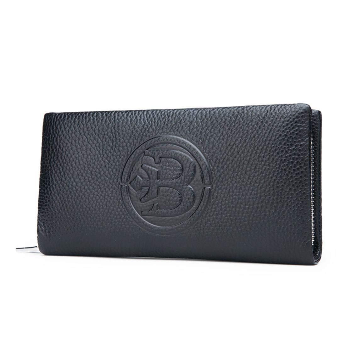 Olprkgdg Echtes Leder Lange Brieftasche mit Reißverschluss RFID-Blockierung für Männer (Farbe   schwarz) B07NRPWTHC Geldbrsen