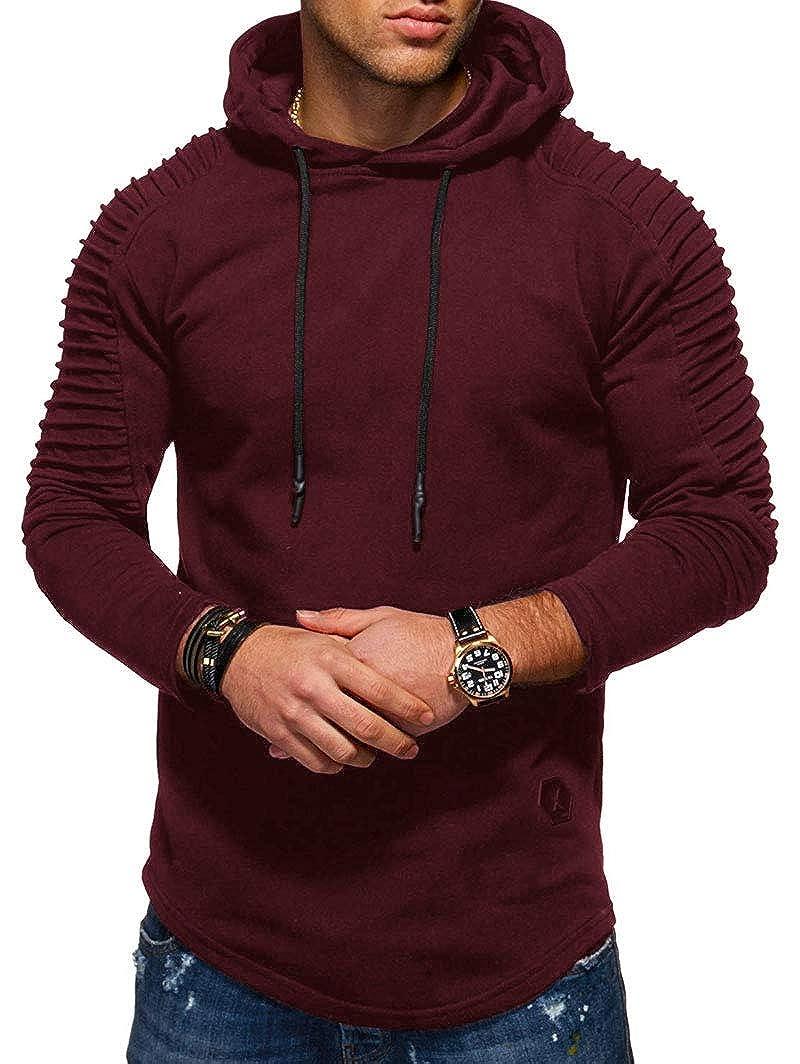 KENANCY Mens Pullover Hoodie Solid Pleat Hem Curved Long Fleece Sweatshirt