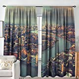 NUOMANAN Blackout Curtains London,Panoramic Picture of Thames River and Tower Bridge Famous Cityscape, Orange Beige Almond Green,Rod Pocket Curtain Panels for Bedroom & Kitchen 54'x63'