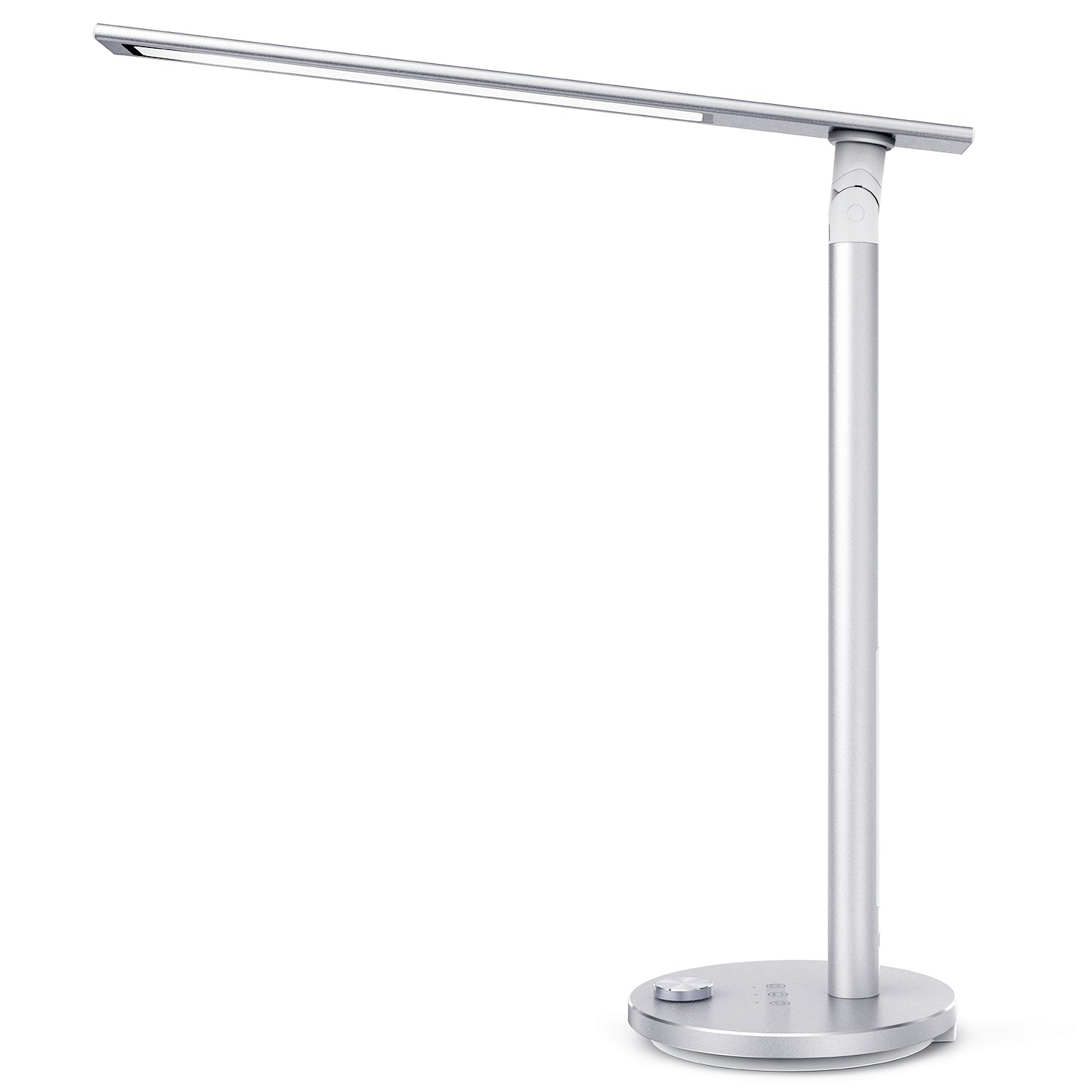 TaoTronics TT-DL037S Eye-caring LED Desk Lamp, Aluminum Alloy Table Lamp with 3 Color Modes, High CRI 92, Double-Light, Night Light, Philips EnabLED Licensing Program, Silver