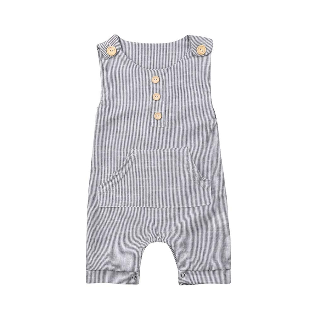 Fiomva Newborn Baby Girls Boy Basic Sleeveless Knitted Button Romper Bodysuit Jumpsuit One-Piece Clothes Outfits