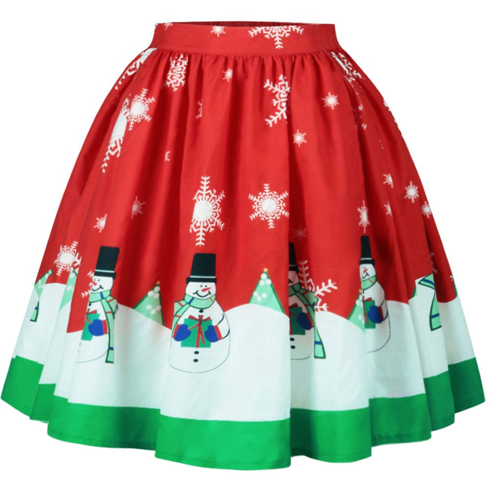 Bodycon4U Women's Christmas Santa Xmas Print Holiday Season Mini Flared Skater Skirt Red M