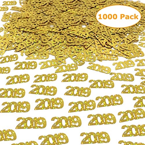 2019 Gold Confetti - Graduation Party Supplies Decoration | Anniversary, Birthday and Variety of Events | Pack of 1000/2.6 Oz Graduation Table Decorations