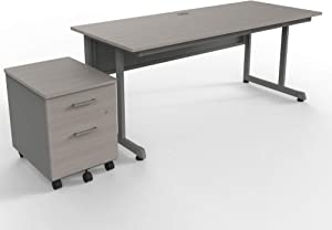 "Linea Italia 1 person Office Computer Desk & Mobile 2 Drawer File Cabinet Work at Home Bundle | Easy to Assemble Furniture, 72"" x 30"" x 30"", Ash"