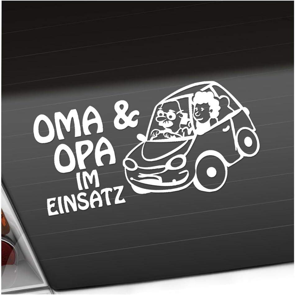 Kiwistar Oma Und Opa Im Einsatz Kinder Boy Girl Heckscheibenaufkleber Carsticker Decal Auto