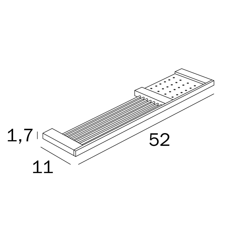 color plateado Regla con estante extra/íble Inda a15510cr