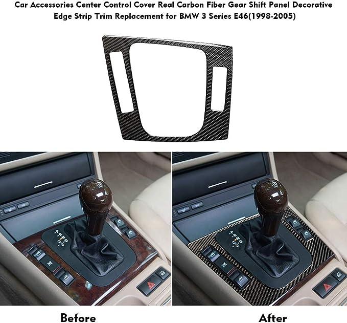 1998-2005 Carrfan Consolas Centrales de Fibra de Carbono Real para Auto Ventilaci/ón de Aire Acondicionado Salida Panel Cubierta del Marco Adornos de Repuesto para BMW Serie 3 E46