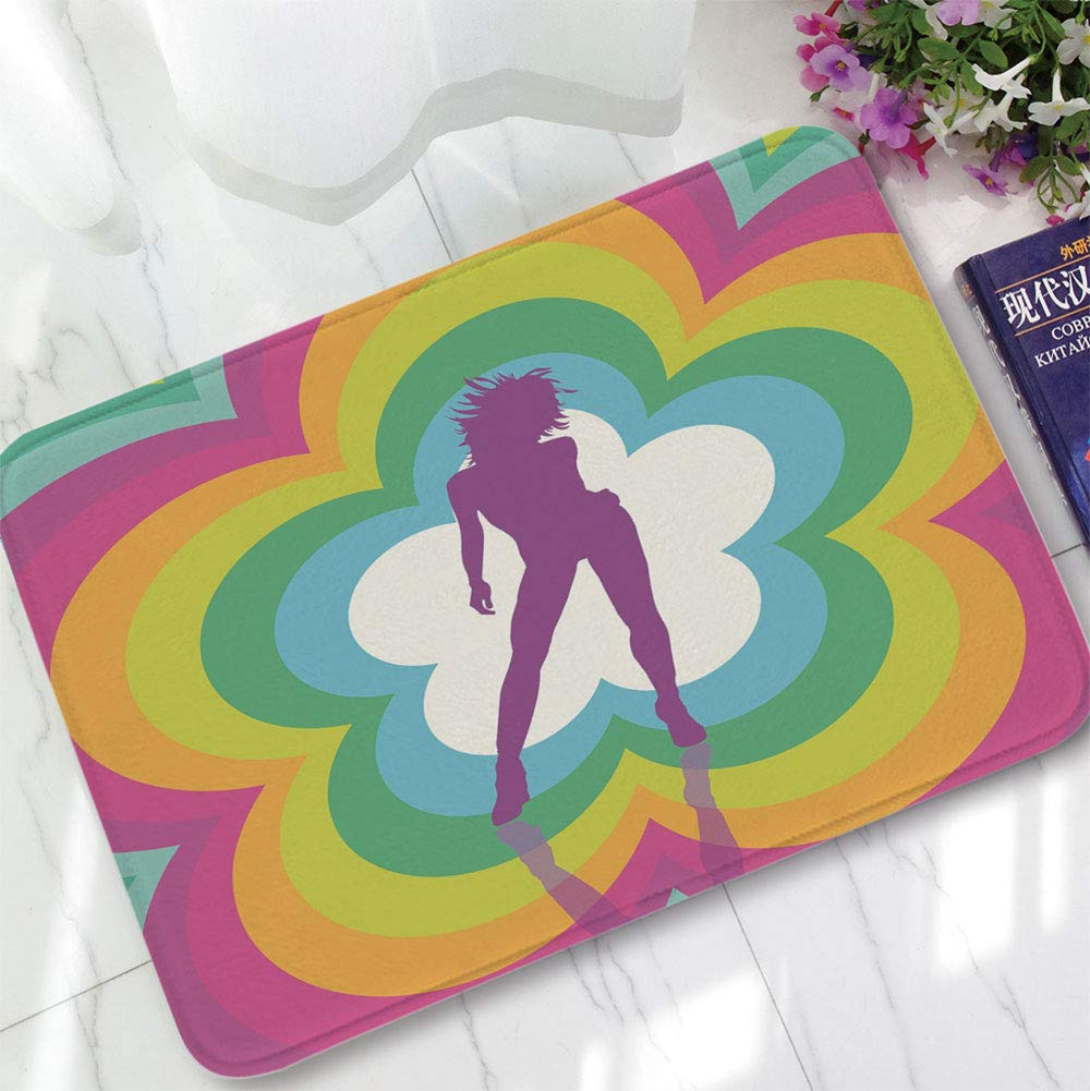 YOLIYANA Non-Slip Mat,70s Party Decorations,for Bathroom Kitchen Bedroom,15.75''x23.62'',Vibrant Colorful Flower with Dancing Woman