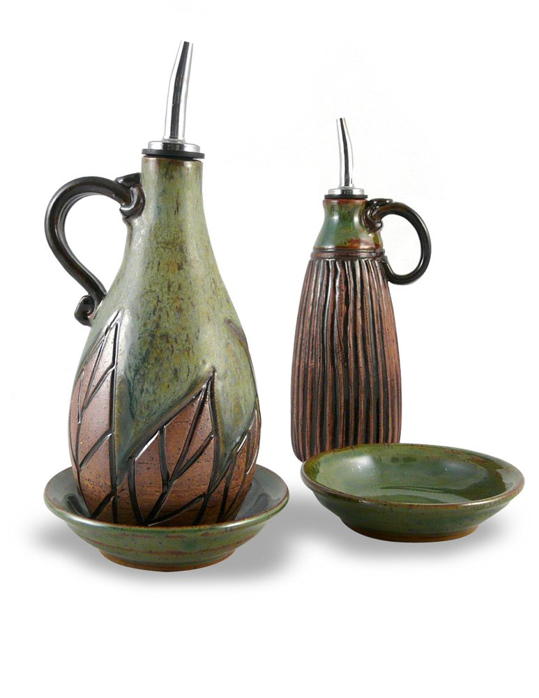 American Made Earthy Terrain Carved Pottery Oil Cruet and Dipping Dish Serving Set, Botanical Green