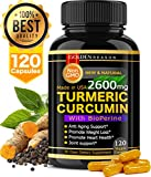 Turmeric Curcumin 2600mg. Anti Aging Support. Joint Support. Promotes Natural Weight Loss and Heart Health, with Bioperine (Black Pepper) 120 High Quality Veggie Capsules. Non GMO. Made in USA. Review
