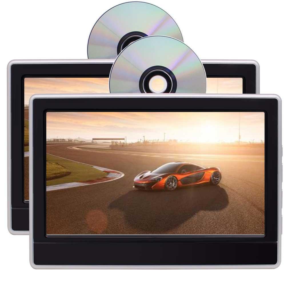 ペア11.6インチヘッドレストDVDプレーヤーDVDヘッドレストモニター後部座席DVD / CD / HDMIポートとUSBプレーヤー、リモートコントロール、シガーライターアダプタとゲームパッド B0788KB3X2