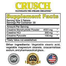 Best Creatine To Build Muscle Fast - CRUSCH: Ultimate Tri-Phase - With Hydrochloride (HCL), Monohydrate & Pyruvate