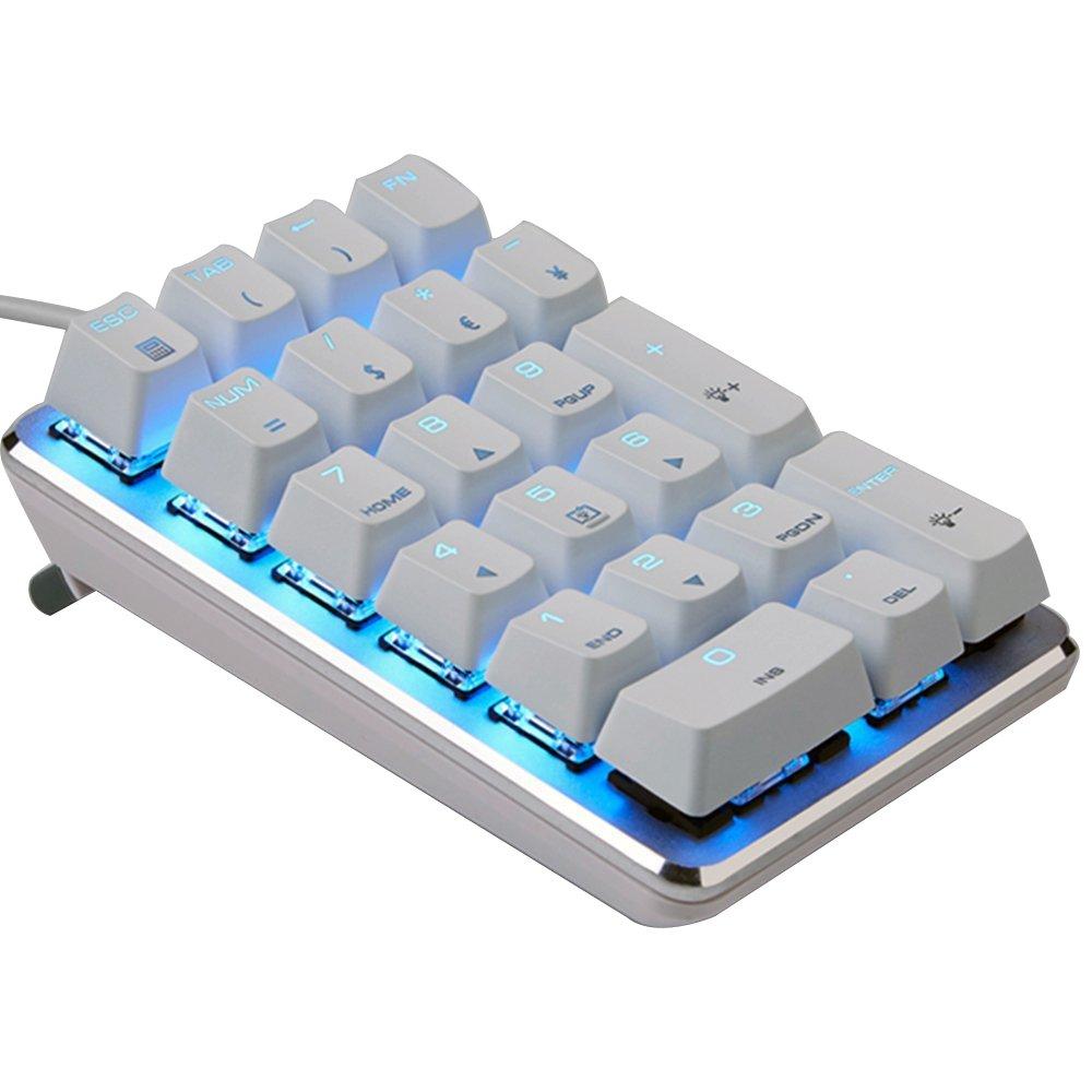 Urchoiceltd Pav/é num/érique m/écanique Magicforce Rouge commutateur Bleu Marron fonc/é commutateur filaire Bleu glacier r/étro/éclair/é 21 touches clavier pour les utilisateurs dordinateurs des Op/érations