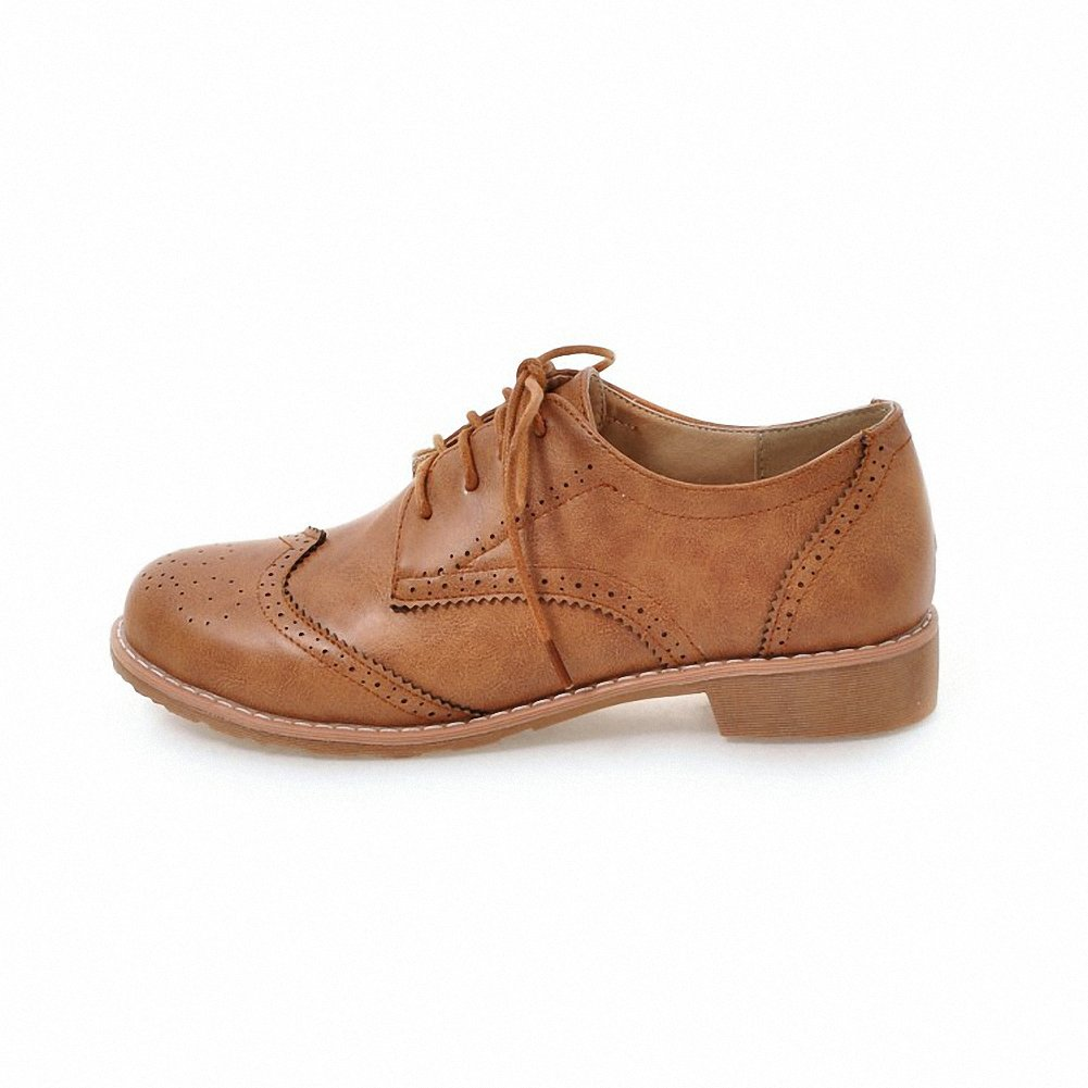 Cicime Women's Flat Lace-up Wingtip Oxfords Vintage Brown Oxford Shoes Brogues by Cicime (Image #2)