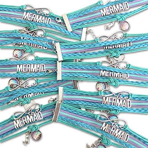 [해외]Mermaid Party Favors Infinity Mermaid Bracelet 10 Pack for Birthday Party Supplies. Aqua Blue & Green bracelets perfect for Underwater Parties. Mermaid Party Pack for Tween Girl Gifts and Prizes. / Mermaid Party Favors, Infinity Me...