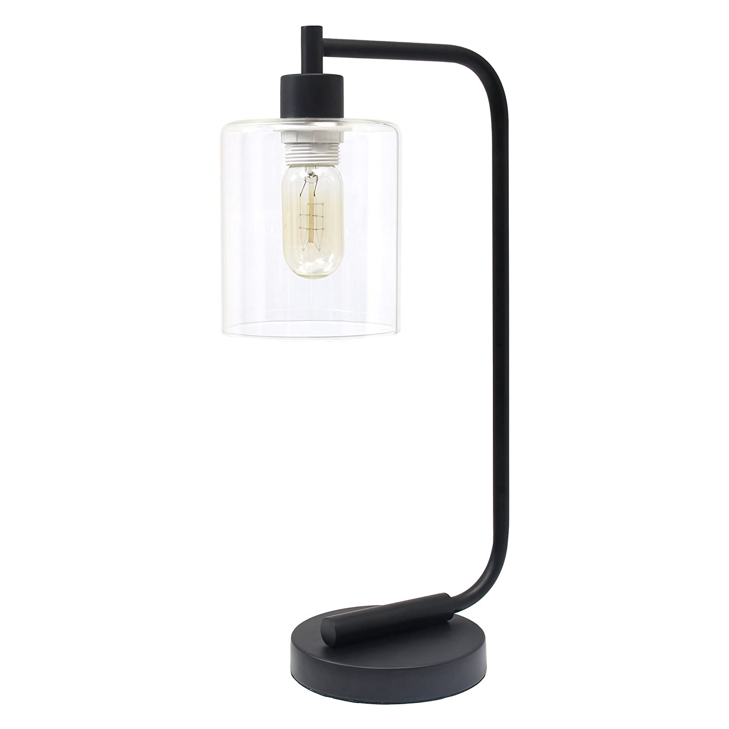 Small desk lamps - Simple Designs Home Ld1036 Blk Bronson Antique Style Industrial Iron Lantern Desk Lamp With Glass