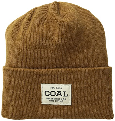 Coal Men's the Uniform Fine Knit Workwear Cuffed Beanie Hat, Light Brown, One Size
