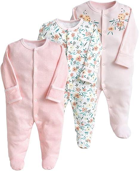 Image of Pijama para bebé, pelele, paquete de 3, unisex, de algodón, 3 a 12 meses Rosa. 6-9 Monate
