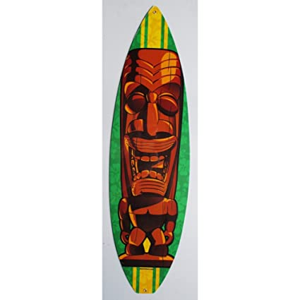 Inconnu – Placa tole épaisse Tiki madera tabla de surf Deco Loft Dine