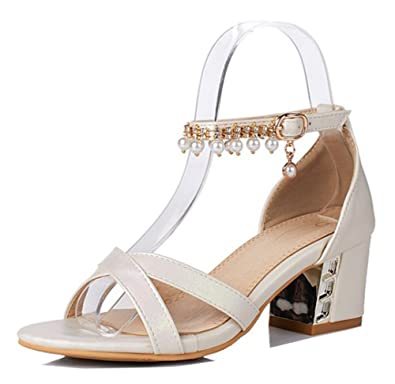 9f3624248bfa5 Aisun Women s Fashion Beaded Rhinestone Dressy Buckled Medium Block Heel  Open Toe Sandals with Ankle Strap