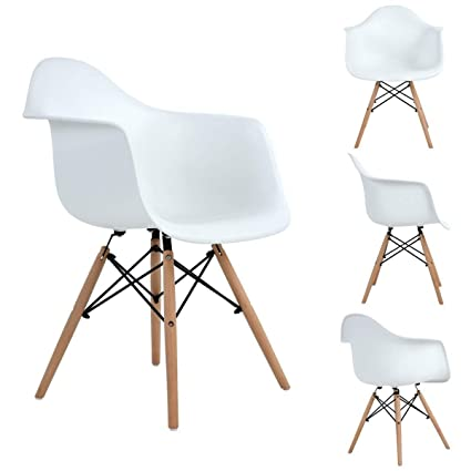 Aingoo Eiffel Style Chairs Kitchen Chairs Set Of 4 Arms Dining Chair Mid  Century For Living