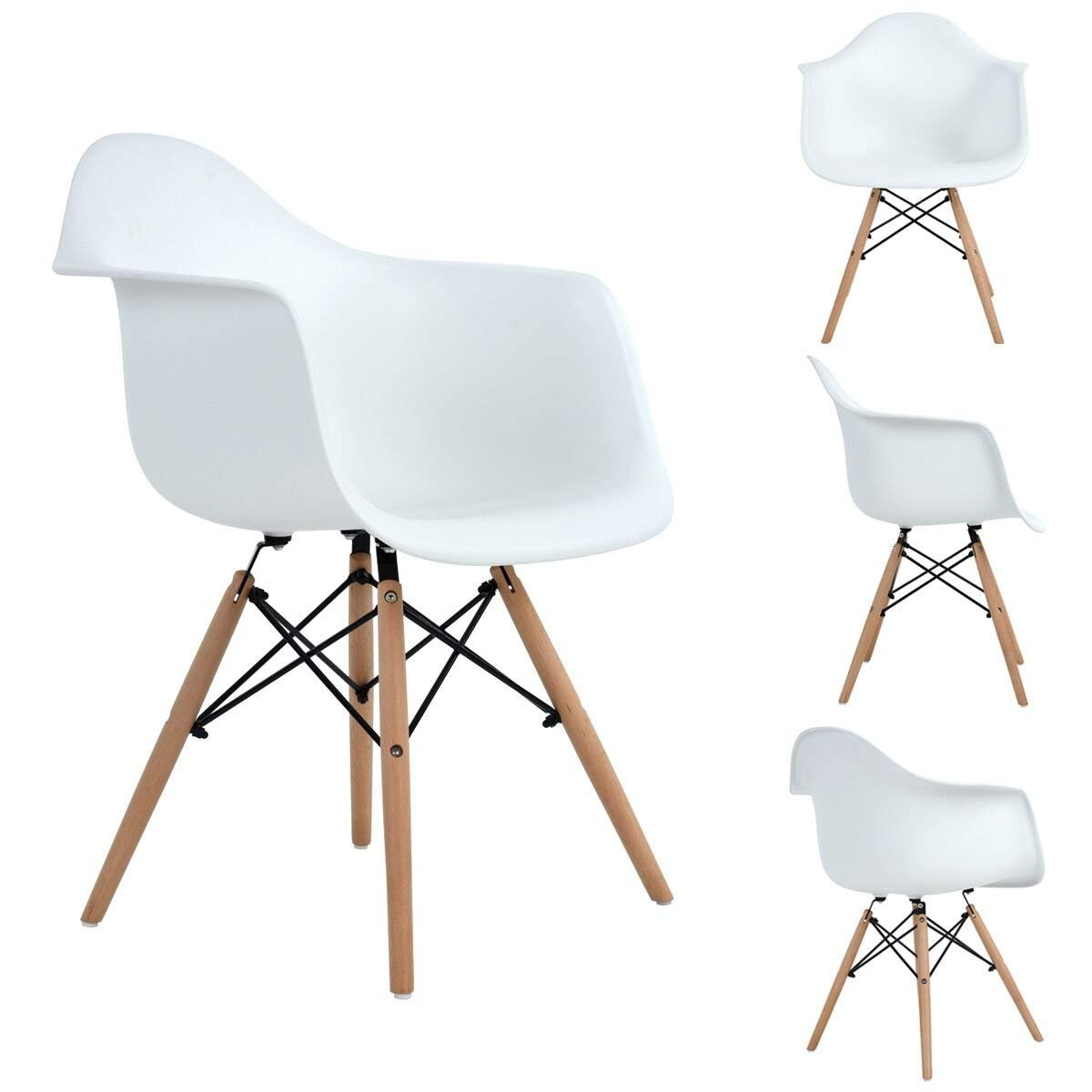 Aingoo Eiffel Style Chairs Kitchen Chairs Set of 4 Arms Dining Chair Mid Century for Living Lounge Room Modern Natural Wood Legs White