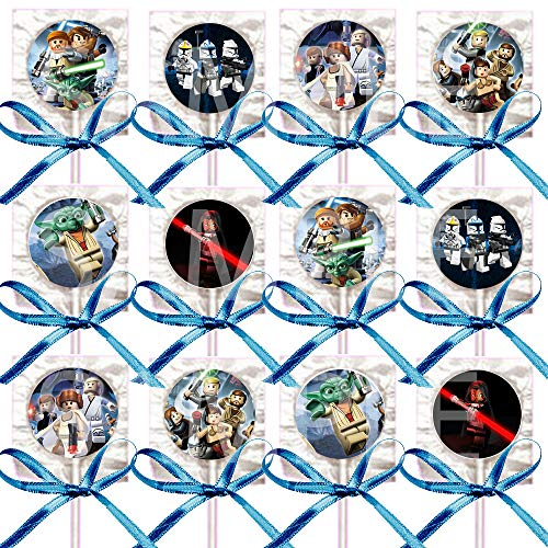 Star Wars Lollipops Building Blocks Party Favors Supplies Decorations Lollipops with Black Ribbon Bows Party Favors -12 pcs, Princess Leia, Hans Solo, Yoda, Luke Skywalker -
