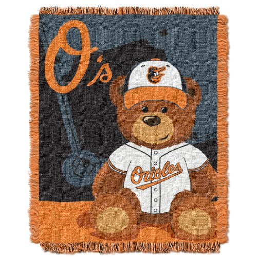 The Northwest Company MLB Baltimore Orioles Field Bear Woven Jacquard Baby Throw, 36