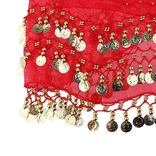 MagiDeal Correa de Cadera Baile Fiesta De Moda Desgaste Profesional Clásico Estilo Bohemia Mujeres Décor Vestido - Blanco rojo