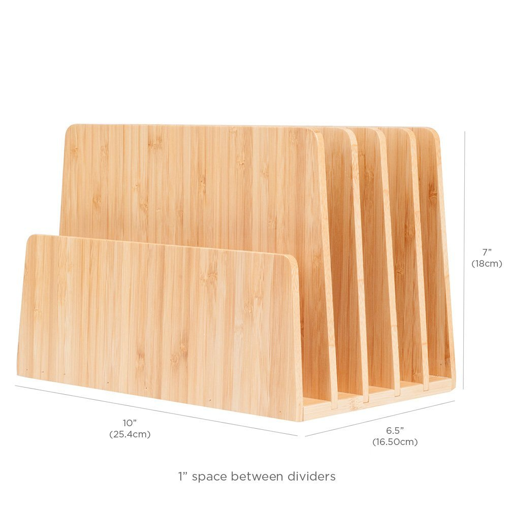 MobileVision Bamboo Desktop File Folder Organizer and Paper Tray, 5 ...