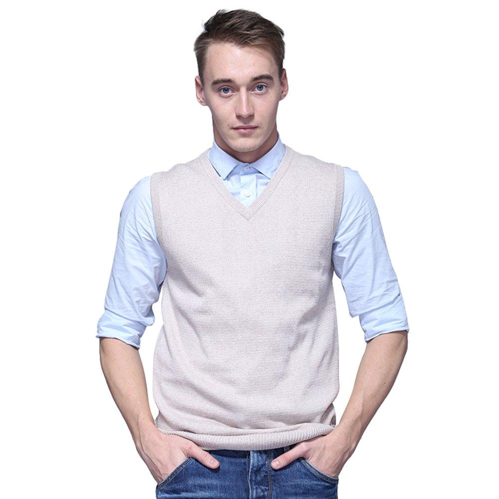 FASHIONMIA Mens Casual Solid Slim Fit V-Neck Knit Vest Sweater Khaki XL